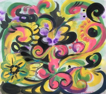 Rosemaling Variation 2, acrylic on paper, 22 by 25 in. Emilia Kallock 2017 An adaptation of the traditional Norwegian decorative painting called rosemaling and Rorschach test technique.