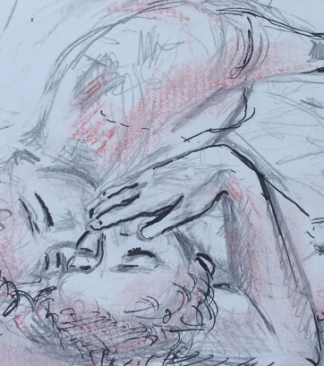 Erotic Sketch; Fingers on Both Lips, pen and pastel on paper, 6 by 8 in. Emilia Kallock 2018. I believe there is a correlation between treating the earth with delicacy and passion as people are capable to doing to each other. Here, I've reconstructed/expanded this moment. It also satisfyingly serves as a sacred souvenier. Full drawing can be seen in the Eros section of my website- password Pompeii.