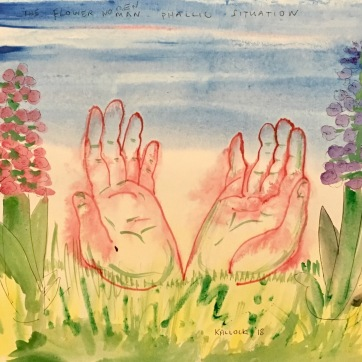 Gratitude Sculpture Sketch, watercolor on paper, 12 by 14 in. Emilia Kallock 2918. I would like to do a sculpture of 12 ft hands emerging from the ground symbolizing my gratitude to the earth. Also, Sri Chinmoy's quote inspired me : Every morning try to greet God with only one thing: an ever-increasing gratitude-gift.