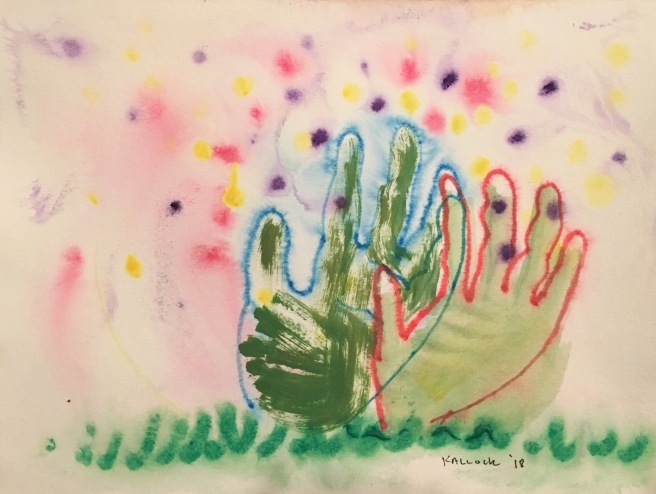 Two Hands Emerging from the Ground, watercolor pencil and watercolor on paper, 8 by 9 in. Emilia Kallock 2018. I expanded more on the hands-emerging-from-earth image for a sculpture, but this time with two left hands, signifying those of a couple working together reaching out, with gratitude and curiosity. Sri Chinmoy's quote comes to mind again: Every morning try to greet God with only one thing: an ever-increasing gratitude-gift.