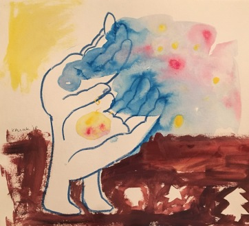 Gratitude Hands, watercolor and watercolor pencil on paper, 7 by 8 in. Emilia Kallock, 2018. I've found when one begins the day (or process of whatever) with a heart centered feeling of gratitude, it sets the stage for a much more efficient, productive and expansive possibility, in whatever you seek out to accomplish. In other words, it sets the stage. I show this in this drawing with the color floats of possibility drifting out to their potentiality.