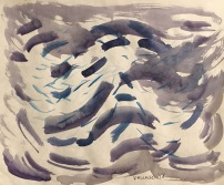 Wind, watercolor on paper, 8 by 10 in. Emilia Kallock 2018. How does one illustrate wind? With the effects it has on the things it touches? I'm interested in drawing it because it's like trying to portray emotions. They're invisible, but the tangible effects show up in the material world.