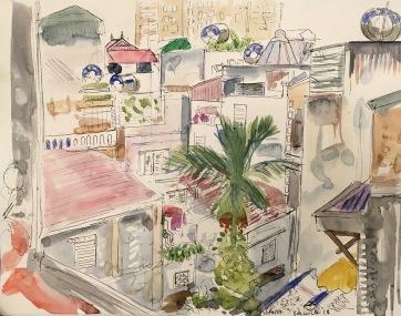 Kitchen View, Hanoi, watercolor on paper, 8 by 8 in. Emilia Kallock, 2018