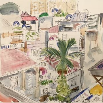 Kitchen View, Hanoi, watercolor on paper, 8 by 8 in. Emilia Kallock, 2018