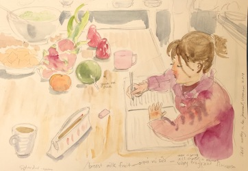 In the Kitchen in Hanoi, watercolor on paper, 8 by 8 in. Emilia Kallock, 2018