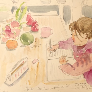 In the Kitchen in Hanoi, watercolor on paper, 8 by 8 in. Emilia Kallock, 2018