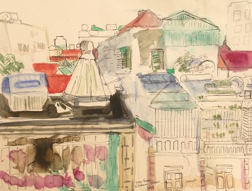View from Kitchen in Hanoi, watercolor on paper, 11 by 9 in. Emilia Kallock, 2018