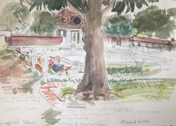 Notes from the Temple of Literature, Hanoi, watercolor on paper, 8 by 12 in. Emilia Kallock 2018