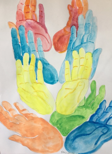 Gratitude Represented by Hands 2, watercolor on paper, 11 by 9 in. Emilia Kallock 2018