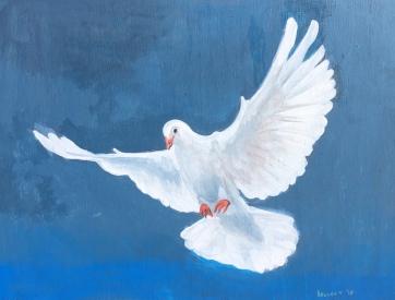 Dove, acrylic on board, 26 by 30 in. Emilia Kallock, 2018