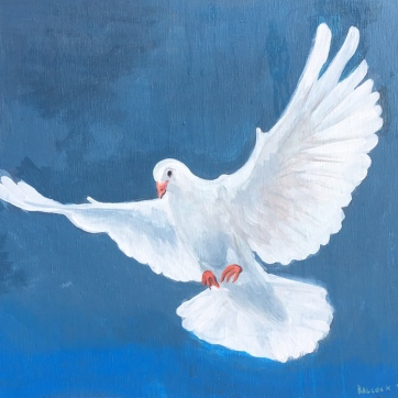 Dove, acrylic on board, 26 by 30 in. Emilia Kallock, 2018