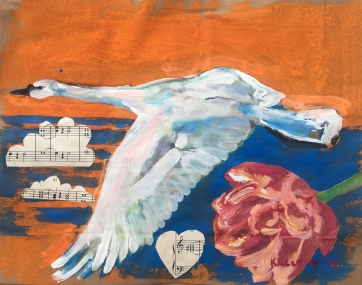 Swan 5, acrylic and collage on paper grocery bag, 6 by 8 in. Emilia Kallock 2018