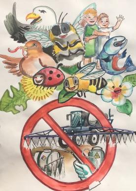 Organic Cartoon, watercolor on paper, 12 by 9 in. Emilia Kallock 2018