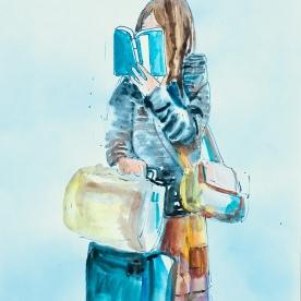 Woman Reading on Metro in Seoul, watercolor on paper, 11 by 8 in. Emilia Kallock, 2018
