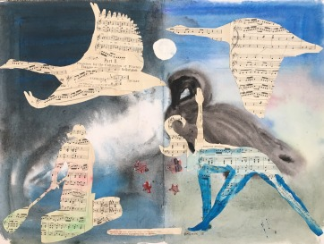 Learning Love, watercolor and collage on paper, 18 by 24 in. Emilia Kallock 2018 $1,500