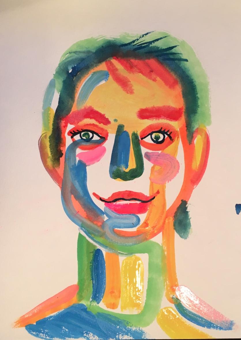 Self Portrait, watercolor on paper, 14 by 11 in. Emilia Kallock 2018