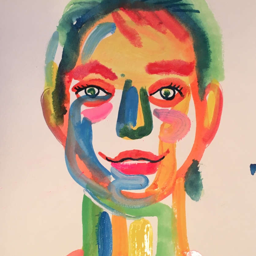 Self Portrait, watercolor on paper, 14 by 11 in. Emilia Kallock 2018