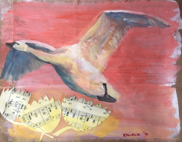 Swan 4, acrylic and collage on paper grocery bag, 6 by 8 in. Emilia Kallock 2018 $500