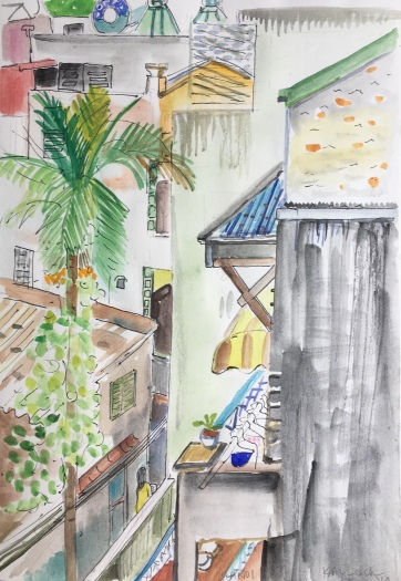 Kitchen in Hanoi 1, watercolor on paper, 14 by 8 in. Emilia Kallock 2018 $1,000