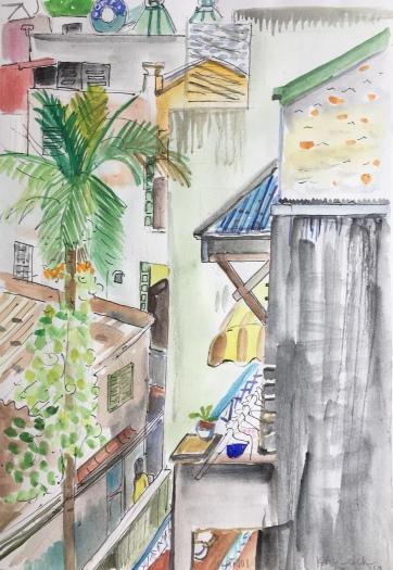Kitchen in Hanoi 1, watercolor on paper, 14 by 8 in. Emilia Kallock 2018