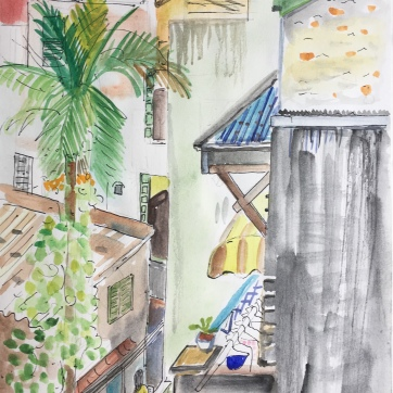 Kitchen in Hanoi 1, watercolor on paper, 14 by 8 in. Emilia Kallock 2018