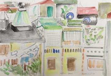 Kitchen in Hanoi, watercolor on paper plein aire, 9 by 12 in. Emilia Kallock