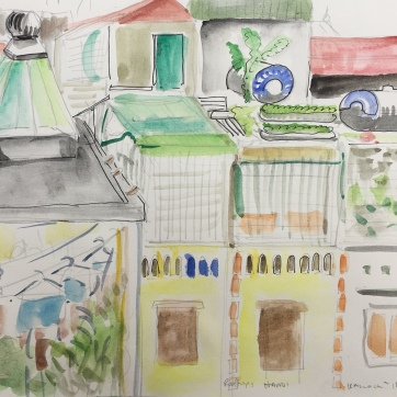 Kitchen in Hanoi, watercolor on paper plein aire, 9 by 12 in. Emilia Kallock