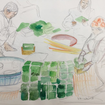Making Trung Cakes for Lunar New Year in Vietnam, watercolor on paper, 9 by 11 in. Emilia Kallock, 2018