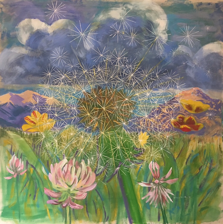 Wish with Flowers and Mountains, acrylic on canvas, 62 by 62 in. Emilia Kallock, 2018