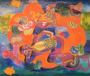 Wish, acrylic on canvas, 60 by 65 in. Emilia Kallock, 2018