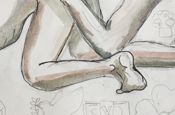 Butthole Licking 2 (Detail), watercolor on paper, 8 by 10 in. Emilia Kallock, 2018