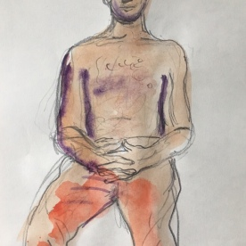 Alan Doing Yoga, watercolor on paper, 10 by 8 in. Emilia Kallock 2018