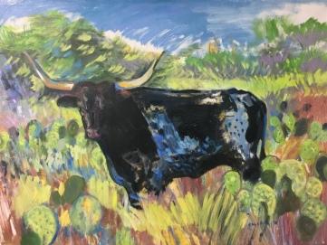 Texas Longhorn Bull, 38 by 45 in. oil on canvas, Emilia Kallock 2018