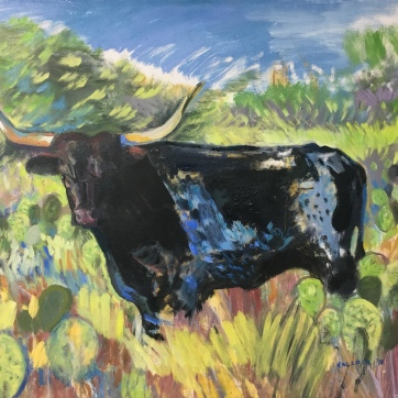 Texas Longhorn Bull, 38 by 45 in. oil on canvas, Emilia Kallock 2018