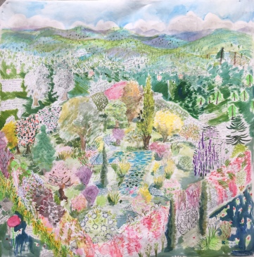 Secret Garden Design, acrylic, watercolor and chalk on industrial wallpaper, 53 by 53 in. Emilia Kallock, 2018