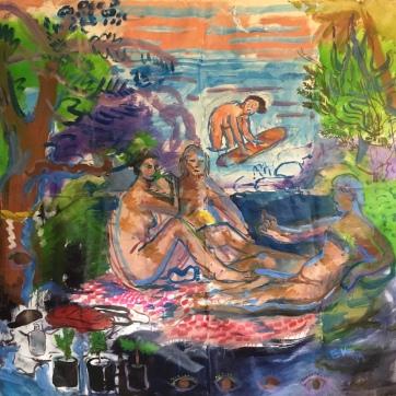 Dejeuner de l'herbe 2019, oil on canvas, 58 by 64 in. Emilia Kallock, 2019