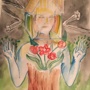 Deflection of Undivine Thoughts, watercolor on paper, 11 by 9 in. Emilia Kallock 2019