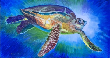 Smiling Sea Turtle, oil on canvas, 16 by 30 in. Emilia Kallock, 2019
