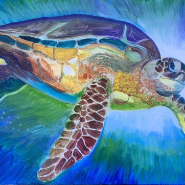 Smiling Sea Turtle, oil on canvas, 16 by 30 in. Emilia Kallock, 2019