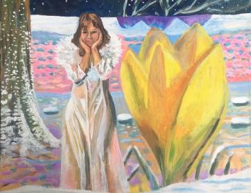 Winter Garden, oil on board, 18 by 24 in. Emilia Kallock, 2019