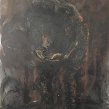 Sadhana, Process, oil and glass glitter on vinyl wallpaper, 74 by 55 in. Emilia Kallock, 2019