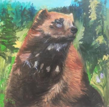 Portrait of a Wolverine, oil on board, 24 by 24 in. Emilia Kallock, 2019