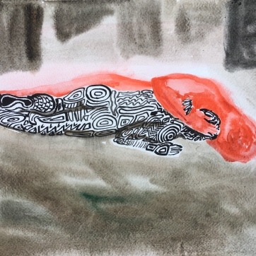 Tandem Metamorphosis Roughhousing, watercolor on paper, 8 by 12 in. Emilia Kallock, 2018
