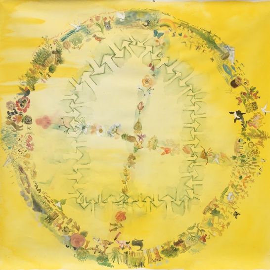 Planet Dance, watercolor on vinyl backed paper, 55 by 55 in. Emilia Kallock, 2019