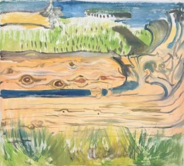 Driftwood, Stillaguamish Delta, oil on wallpaper, 20 by 20 in. Emilia Kallock, 2019