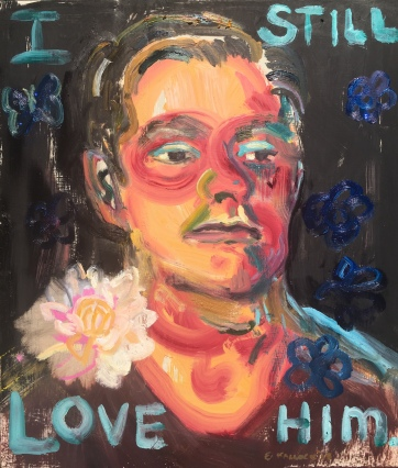 I Still Love Him, oil and glitter on kitchen cabinet door, 20 by 14 in. Emilia Kallock, 2019