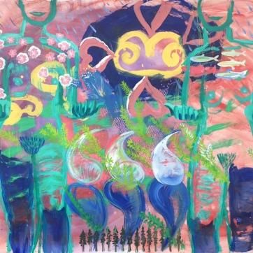 The Goddesses or Something Like That, acrylic on vinyl wallpaper, 55 by 62 in. Emilia Kallock, 2019