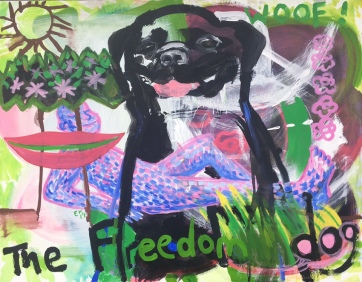 Freedom Dog, acrylic on canvas, 41 by 47 in. Emilia Kallock, 2019