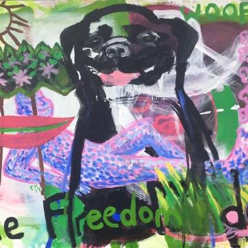 Freedom Dog, acrylic on canvas, 41 by 47 in. Emilia Kallock, 2019