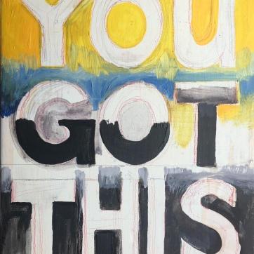 You Got This, oil on repurposed kitchen cabinet, 10 by 8 in. Emilia Kallock, 2019